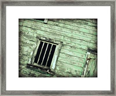Green Barn Up Close Framed Print by Julie Hamilton