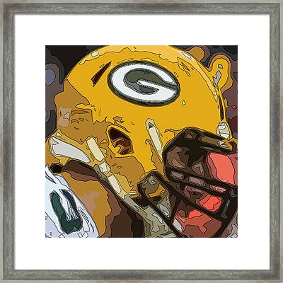 Green Bay Packers Comic Style Helmet Abstract 1 Framed Print by David G Paul