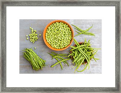 Green Beans And Peas Framed Print