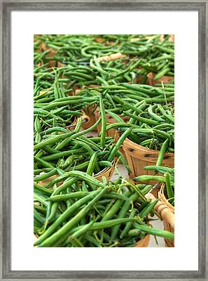 Green Beans In Baskets At Farmers Market Framed Print