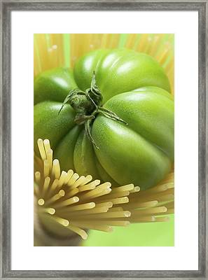 Green Beefsteak Tomato In A Bundle Of Spaghetti Framed Print