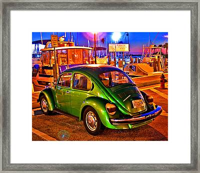 Framed Print featuring the photograph Green Beetle by Christopher McKenzie