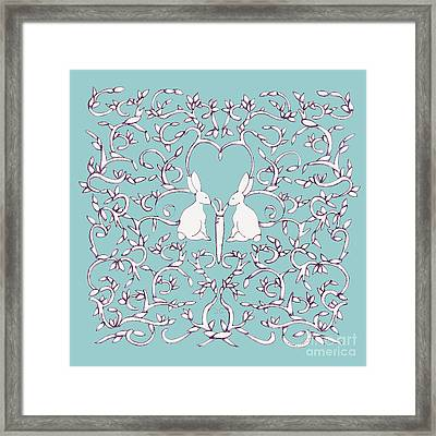 Framed Print featuring the drawing Green Blue Rabbits Leaves by Donna Huntriss