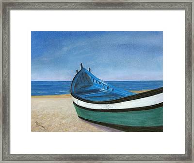 Framed Print featuring the painting Green Boat Blue Skies by Arlene Crafton