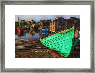 Green Boat Peggys Cove Framed Print