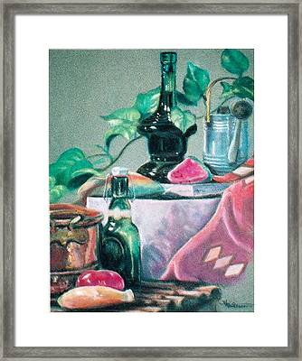 Green Bottles And Copper Framed Print