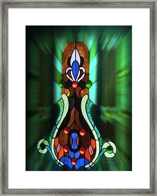 Green Brown Stained Glass Window Framed Print by Thomas Woolworth