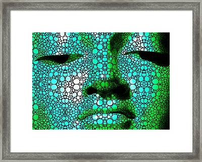 Green Buddha - Stone Rock'd Art By Sharon Cummings Framed Print by Sharon Cummings