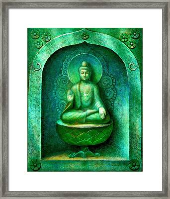 Green Buddha Framed Print