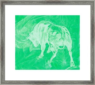 Green Bull Negative Framed Print