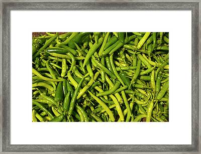 Green Chilies For Sale, Fatehpur Sikri Framed Print by Inger Hogstrom