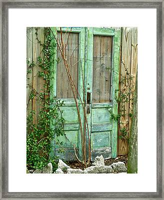 Green Cottage Doors Framed Print by Angie Mahoney