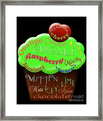 Green Cupcake Typography Framed Print