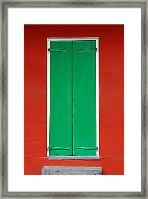 Green Door In New Orleans Framed Print