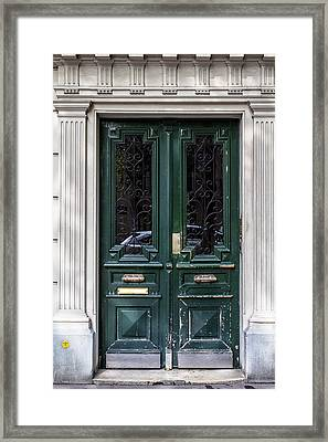 Green Door In Paris Framed Print by Georgia Fowler