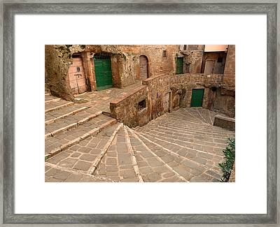 Framed Print featuring the photograph Green Doors by Alan Socolik