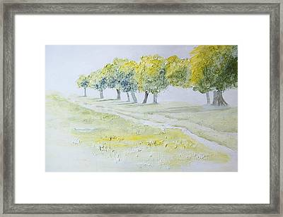 Green Double Path Framed Print by Mary Adam