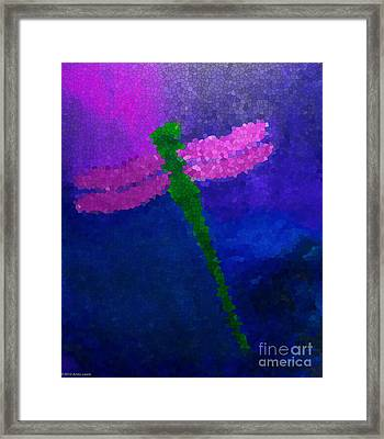 Green Dragonfly Framed Print by Anita Lewis