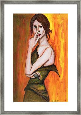 Green Dress And Mobile Phone, 2006 Pen & Ink And Inks On Paper Framed Print