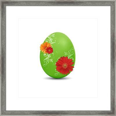 Green Easter Egg Framed Print by Aged Pixel