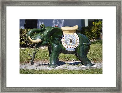 Green Elephant  Framed Print