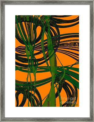 Framed Print featuring the digital art Green Excitement by Hanza Turgul