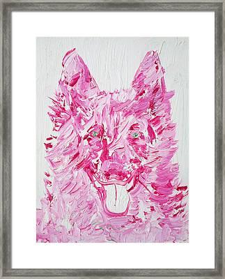 Green Eyes Dog / Oil Portrait Framed Print by Fabrizio Cassetta