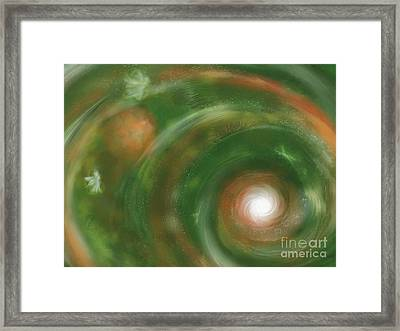 Framed Print featuring the painting Green Faerie Kingdom by Roxy Riou