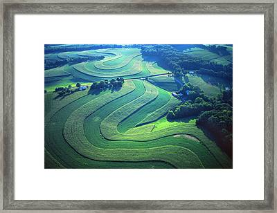 Green Farm Contours Aerial Framed Print by Blair Seitz