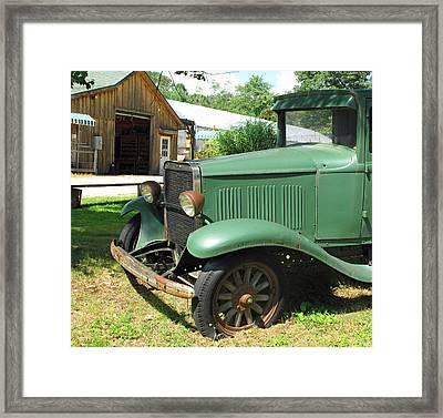 Green Farmer's Truck Framed Print by Barbara McDevitt
