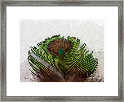 Green Feather Tip Framed Print by Sally Simon