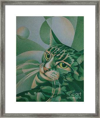 Framed Print featuring the painting Green Feline Geometry by Pamela Clements