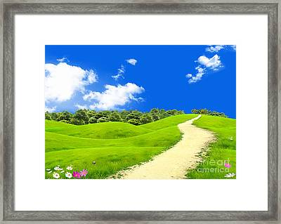 Green Field Framed Print by Boon Mee