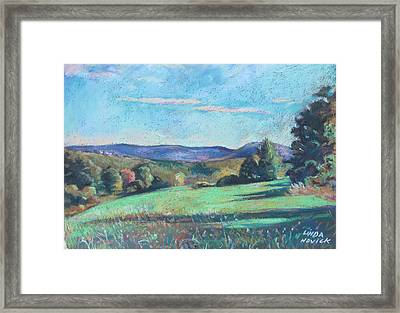 Green Field With Shadows Framed Print