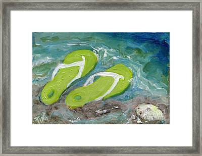 Framed Print featuring the painting Green Fliip Flops On Tybee by Doris Blessington
