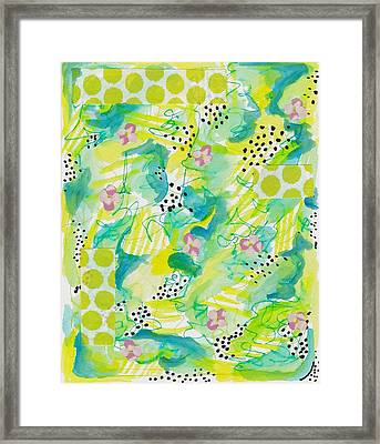 Green Floral Abstract Framed Print