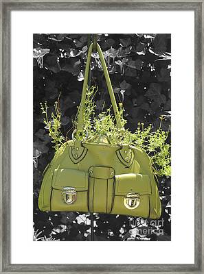 Green Flower Bag Framed Print