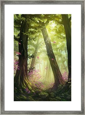 Green Forest Framed Print by Cassiopeia Art