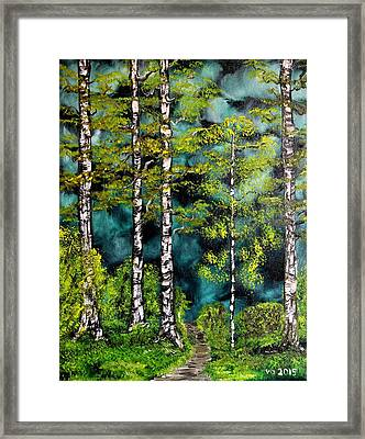 Green Forest Framed Print by Valerie Ornstein