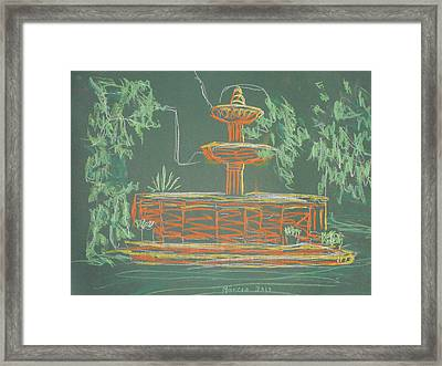 Green Fountain Framed Print by Marcia Meade