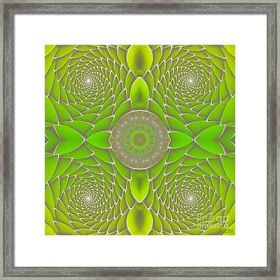 Green Fractal Jewel Framed Print