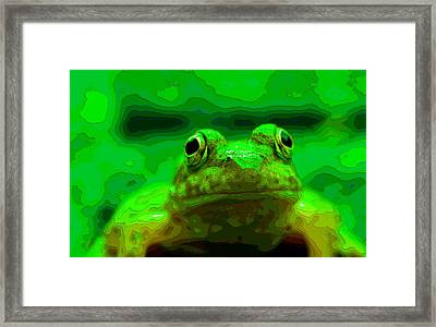 Green Frog Poster Framed Print by Dan Sproul