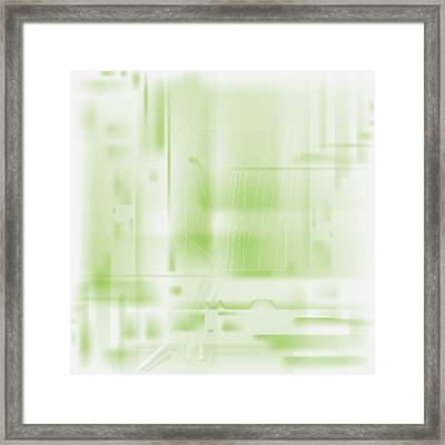 Framed Print featuring the digital art Green Ghost City by Kevin McLaughlin