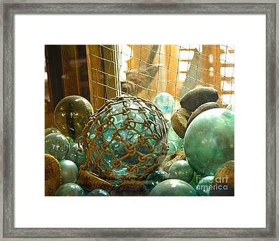 Green Glass Japanese Glass Floats Framed Print