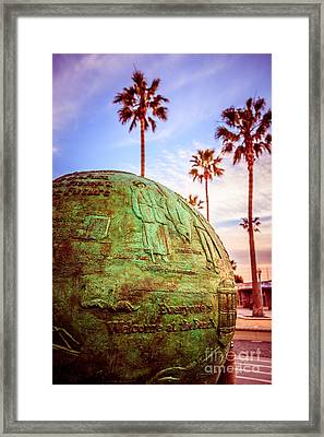 Green Globe At Newport Beach Pier Picture Framed Print by Paul Velgos