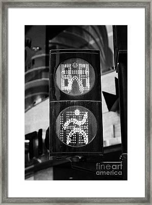 Green Go Pedestrian Crossing Traffic Lights Countdown Clock Crossing Road In Andorra La Vella Andorr Framed Print by Joe Fox