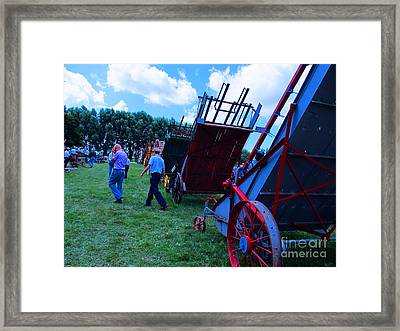 Green Grass And Old Equipments Framed Print