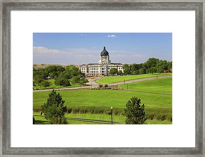 Green Grass Of Park Leading To South Framed Print