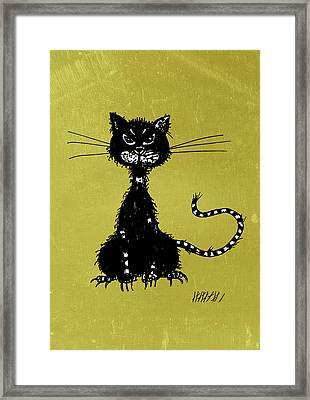 Green Grunge Evil Black Cat Framed Print