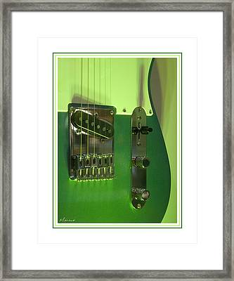 Green Guitar Framed Print by Barry Monaco